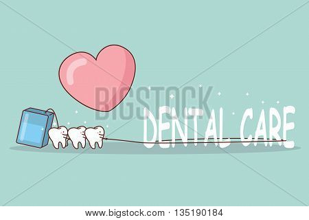 We love dental care - cartoon tooth with floss great for dental care concept