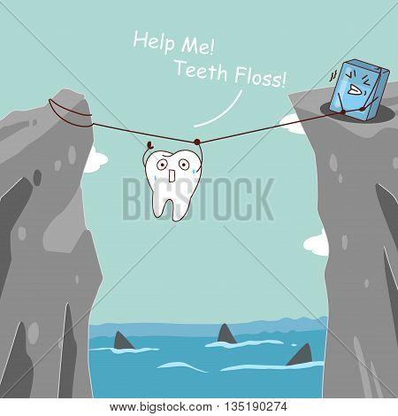 cute cartoon teeth with floss teeth floss helping teeth avoid danger