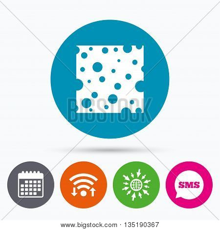 Wifi, Sms and calendar icons. Cheese sign icon. Slice of cheese symbol. Square cheese with holes. Go to web globe.