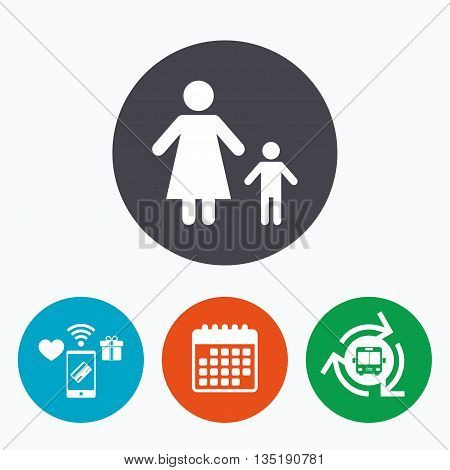 One-parent family with one child sign icon. Mother with son symbol. Mobile payments, calendar and wifi icons. Bus shuttle.