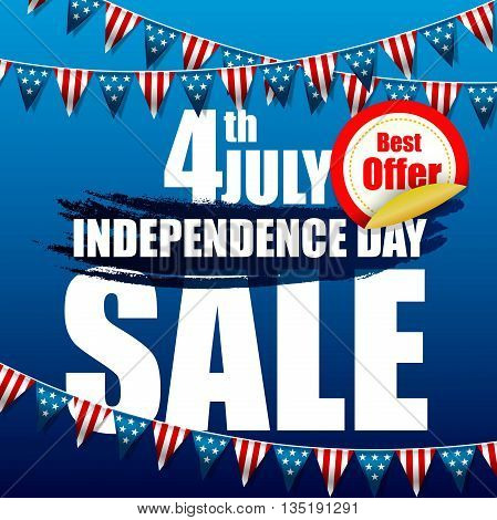 Illustration of Independence day of sale banner template design