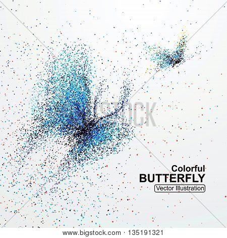 Colorful butterfly, Colorful particles , vector illustration.