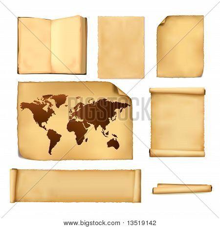 Conjunto de folhas de papel e mapa antigo. Vector.