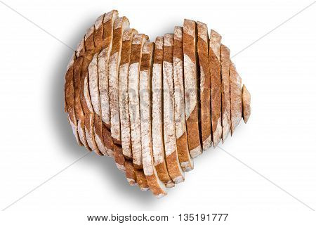 Sliced Bread In Shape Of Heart Over White