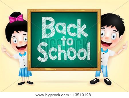 Happy Kids Character Hiding Behind the Green Chalkboard with Back to School Writings