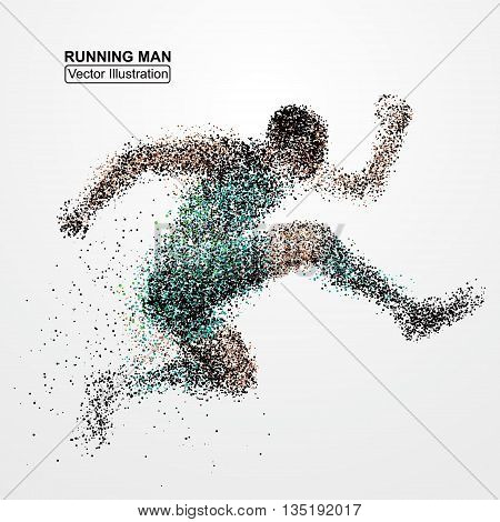 Running Man particle divergent composition, vector illustration.