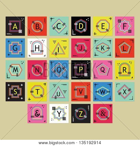 Geometrical colorful and trendy outline alphabets labels set on beige background
