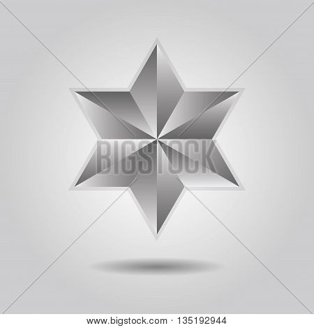 Silver abstract 3d six pointed star icon with dropped shadow on gray gradient background