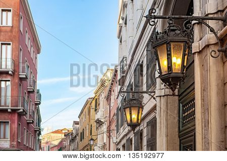 Ancient lamp on Venetian Street