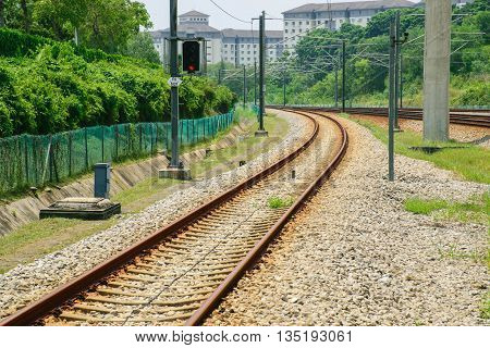 Train way and red semaphore for transport  background