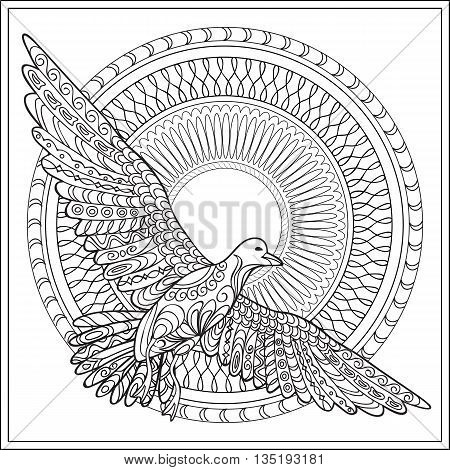 Hand drawn decorated isolated sea bird with mandala on the white background. Image for adult and children coloring book engraving etching embroidery decorate t-shorts tunics tattoo. eps 10