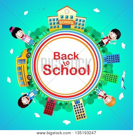 Back to School Text on a Circle with School Building and School Bus with Happy Kids Vector Characters on Blue Background. Vector Illustration