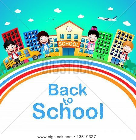 Cute Little Children Standing in Front of School with Buildings and School Bus Going to School. Vector Illustration.
