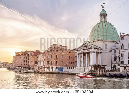 Church San Simeone Piccolo on embankment of Canal Grande
