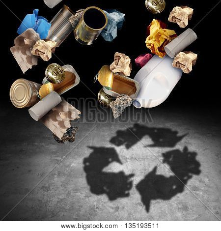 Recycle and recycling concept as a symbol of throwing garbage and reusable waste management as old paper glass metal and plastic household products casting a shadow of the icon and symbol of reusing for environmental conservation in a 3D illustration