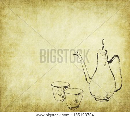 Traditional chinese ink and wash painting tea set on antique cracked paper texture