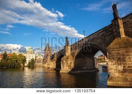 Charles Bridge from the quay of the Vltava River