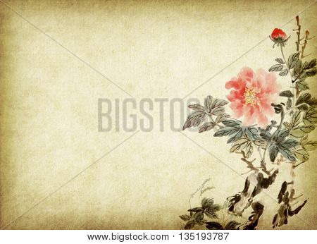 Chinese painting of peony flower,Traditional ink and wash drawing.