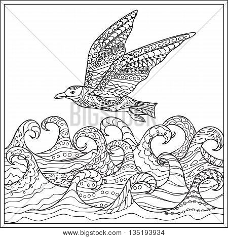 Hand drawn decorated gaviota ander the ocean with waves. Image for adult and children coloring book engraving etching embroidery decorate t-shorts tunics. eps 10