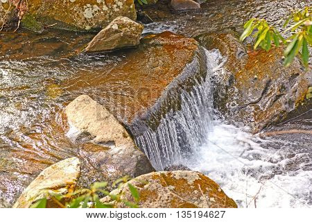 Small Cascade in a Mountain Stream in the Great Smoky Mountains in Tennessee