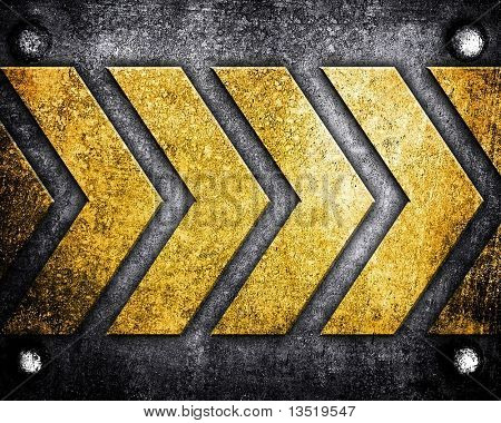 forward direction on metal background