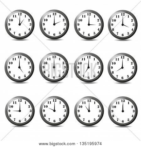 Isolated set of twelve clock. Set of twelve clock on white background.One hour,two hour,three hour,four hour,five hour,six hour,seven hour,eight hour,nine hour,ten hour,eleven hour,twelve hour.
