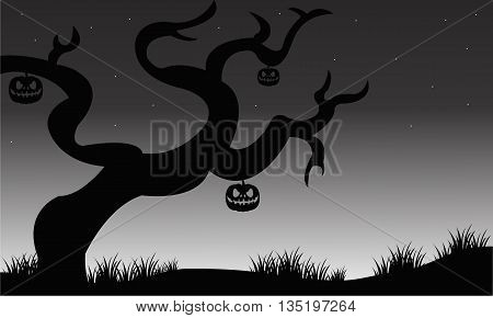 Halloween dry tree and pumkins silhouette illustration