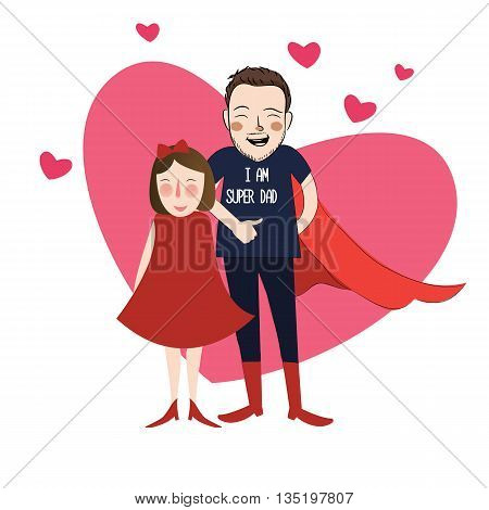 I am super dad illustration cartoon girl daughter with her lovely father vector