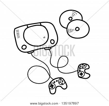 Video Game Console Doodle, a hand drawn vector doodle illustration of a video game console.
