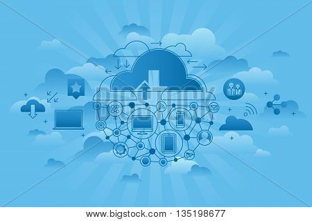 Concept of Global computing services. Cloud correlation of gadgets and computers. Storing data in the cloud. Blue sky style of vector illustration.