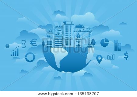 Global Investment thin line blue sky and cloud concept. Global business flat line vector illustration. Building under construction on the globe.