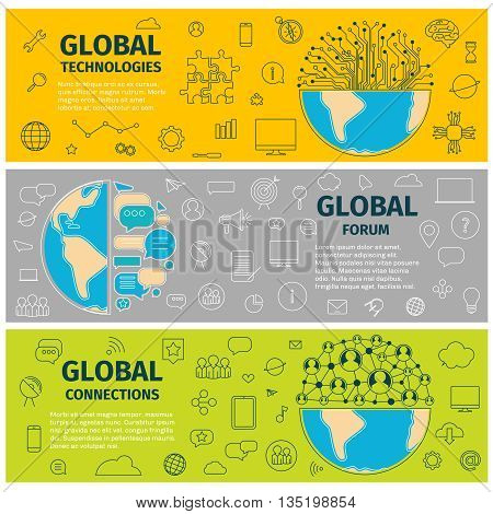 Three Banners of global technoloogies forum and connections. Flat line art design of vector illustration.