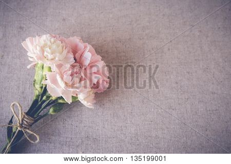 Pink carnation flowers bouquet copy space toning background