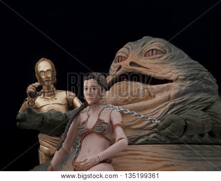 BLOOMFIELD NJ - JUNE 19 2016: Recreation of a scene from Star Wars Return of the Jedi where Jabba the Hutt holds Princess Leia as a slave at his palace on Tatooine