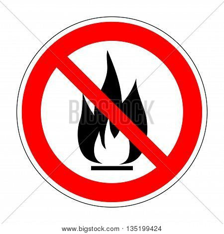 No fire vector sign. Prohibition open flame symbol. Red icon on white background. No bonfire sign. Stop fire. Stop symbol. No camp-fire sign. Dont fire icon. Dangerous fire. Stock vector illustration