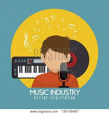 singer with microphone and piano isolated icon design, vector illustration  graphic