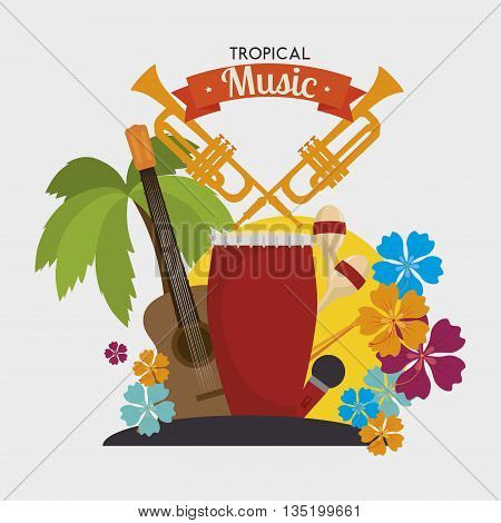 Tropical music instruments isolated icon design, vector illustration  graphic