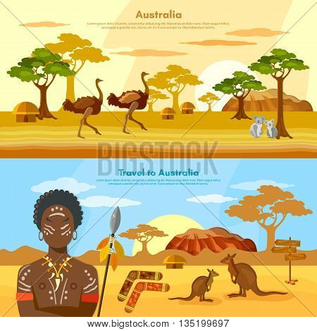 Australia travel banner Australia people and animals Australian aborigines kangaroo ostrich koala vector illustration