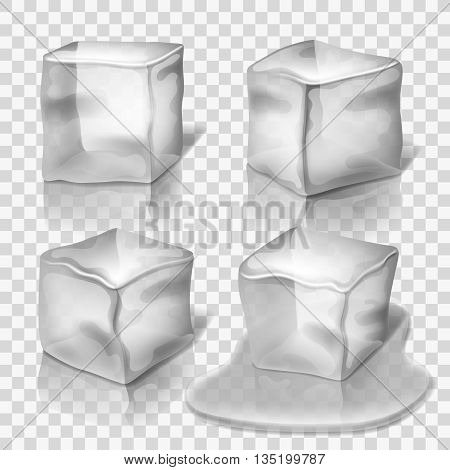 Transparent colorless ice cubes vector set. Block solid cold illustration and cube crystal freeze