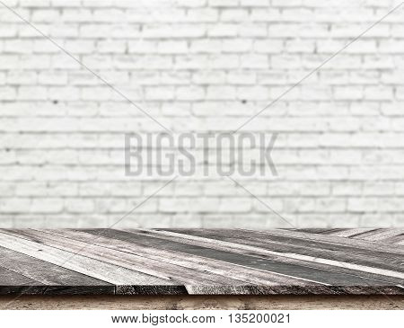 Empty Diagonal Wooden Table Top At Blurred White Brick Wall,template Mock Up For Display Of Your Pro