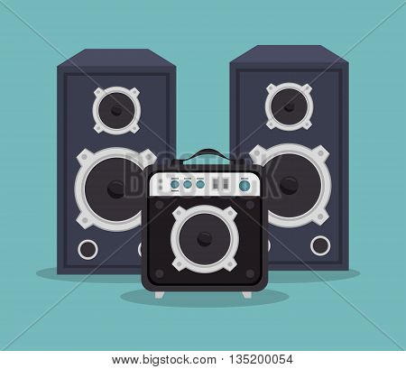 large speakers and player isolated icon design, vector illustration  graphic