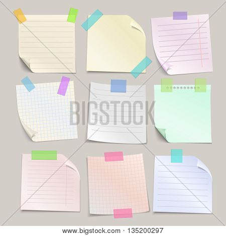 Stick note papers vector set. Collection of paper note with line and cell. Square paper sheet for reminder notice illustration