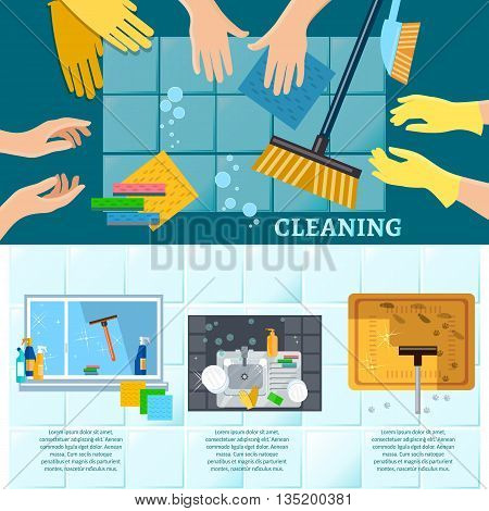 Cleaning service banners home cleaning washing windows carpet cleaning tools hand wash vector illustration