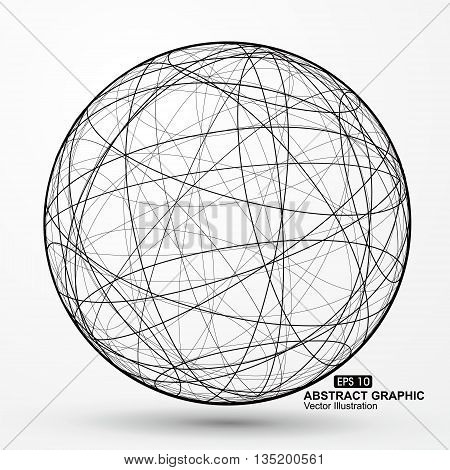 Three-dimensional sphere wireframe ,curve messy composition, abstract vector graphics.