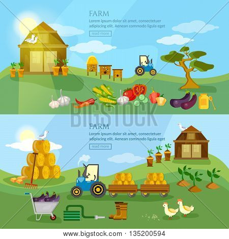 Farm agriculture banner organic product natural food farmers market farm house farm products vector illustration