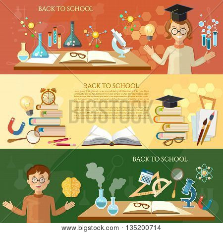 Back to school banner education students in the class open book knowledge science experiment school education tools vector illustration