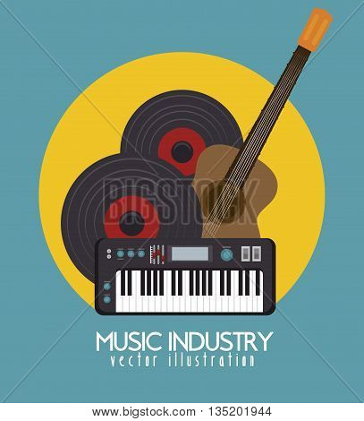 acoustic guitar and piano isolated icon design, vector illustration  graphic