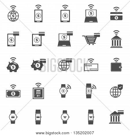 Fintech icons on white background, stock vector