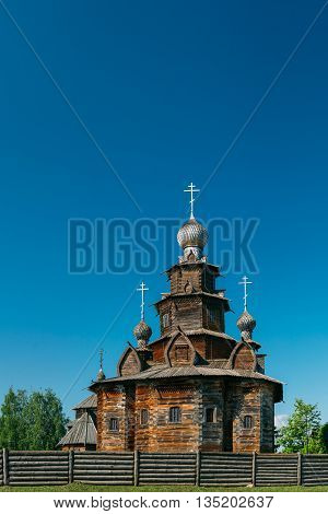 Church of Transfiguration in Old Russian Town of  Suzdal, Russia. Preobrazhenskaya church from village Kozlyatevo, transported in Suzdal - monument of wooden architecture of middle of XVIII century.