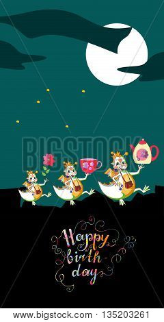 Cute Happy Birthday greeting card. Dragons with gifts at the night. Colorful ornamental lettering. Vector illustration.